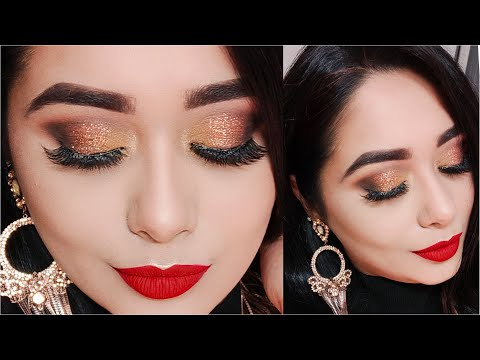 Long Lasting 2020 New Year's Eve Glam Makeup Tutorial   Copper Glitter Eyes