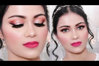 CHRISTIAN Indian Bridal Makeup Tutorial Coral Glittery Eyes Pink Lips In Hindi