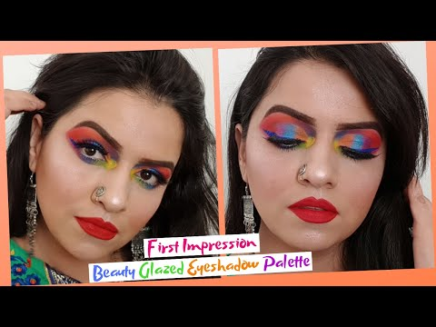Rainbow Eyes Makeup Tutorial Using Beauty Glazed Color Fusion Eyeshadow Palette II Nitika Sawhney II