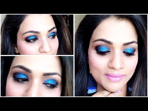 Beginners smokey eye makeup tutorial |Party makeup tutorial |Blue and Black eye makeup| आसन मेकप |