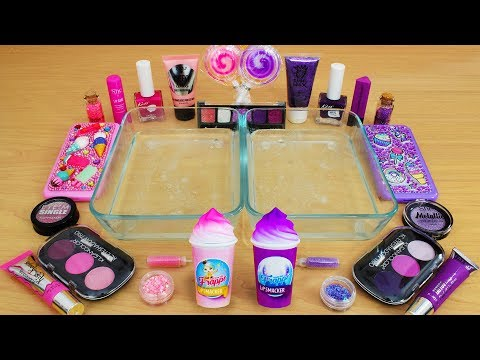 Pink vs Purple – Mixing Makeup Eyeshadow Into Slime! Special Series 83 Satisfying Slime Video