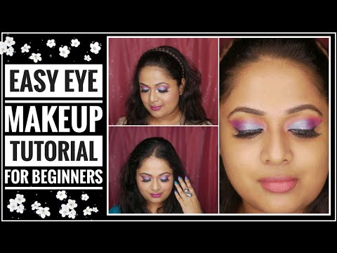 Easy eye makeup tutorial for beginners |Purple Blue eyes!