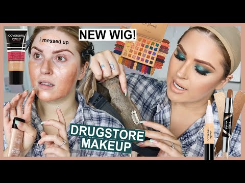 full face of DRUGSTORE makeup! 💸 and a NEW WIG!!