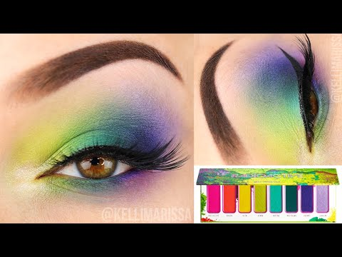 Neon Cool Toned Rainbow Eye Makeup Tutorial – Melt Cosmetics Radioactive Palette || KELLI MARISSA
