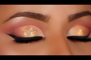 Soft Gold Glitter Cut Crease Makeup Tutorial (Hooded Eyes)