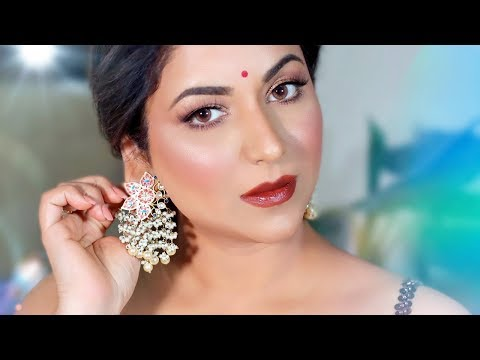 INDIAN WEDDING GUEST MAKEUP TUTORIAL (Perfect Skin & Sparkly Eyes)