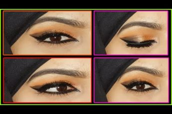 An easy party eye makeup tutorial for beginners||Shimmery Eyes With peach/brown color||Scorpion Gogi