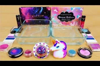 Galaxy vs Unicorn – Mixing Makeup Eyeshadow Into Slime! Special Series 89 Satisfying Slime Video