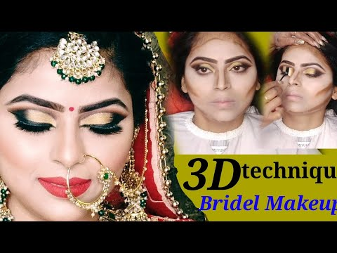 3D techniques HD bridal makeup with golden black smokey eyes look