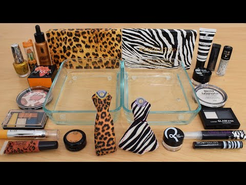 Cheetah vs Zebra – Mixing Makeup Eyeshadow Into Slime ASMR 289 Satisfying Slime Video