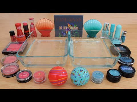 Coral vs Aqua – Mixing Makeup Eyeshadow Into Slime ASMR 312 Satisfying Slime Video