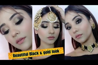 Black & gold eye makeup || how to do???