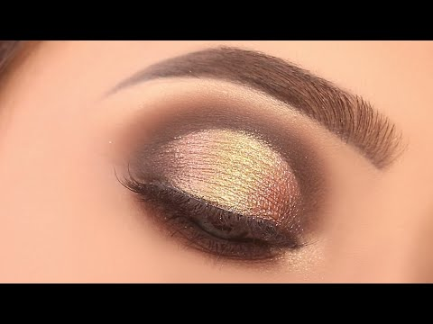 GOLDEN EYE MAKEUP TUTORIAL FOR PARTY || SIMPLE AND EASY WAY TO DO EYE MAKEUP || SHILPA
