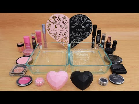 Pink vs Black – Mixing Makeup Eyeshadow Into Slime ASMR 328 Satisfying Slime Video